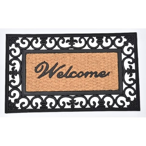 Evideco Sheltered Printed Front Door Mat Welcome Natural Braided Coir Coco Rubber Rug 30x18 Inch
