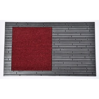 Evideco Sheltered Front Door Mat Colin Coir Coco Rubber 30x18 Red Grey
