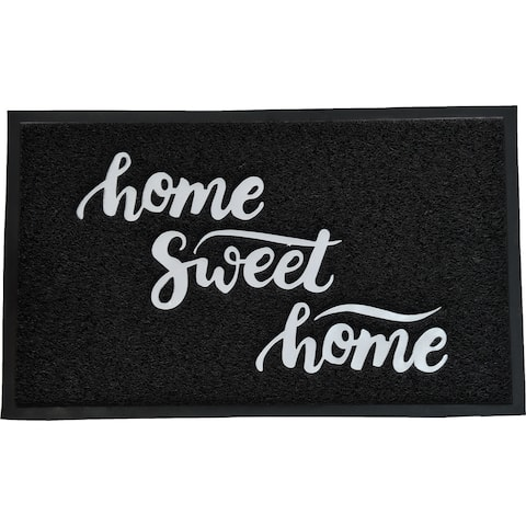 Evideco Outdoor Printed Front Door Mat Home Sweet Home PVC Rug 30x18 Inch Black