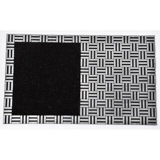 Evideco Sheltered Front Door Mat Hector Coir Coco Rubber 30x18 Inch Black Grey
