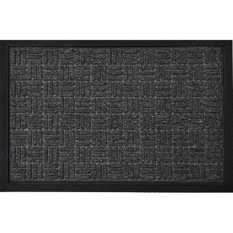 Evideco Outdoor Front Door Mat Checkerboard Yvan Polypropylene Rubber Rug 24x16 Inch Grey