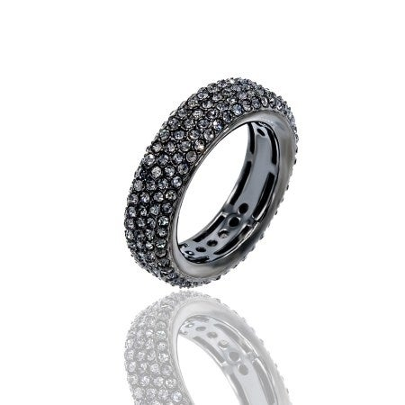 Pave Black Diamond Crystal Eternity Band Ring