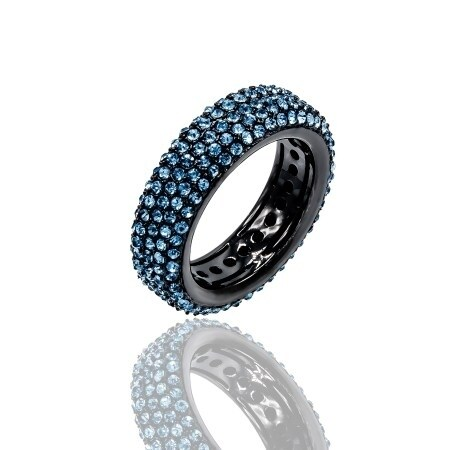 Pave Blue Crystal Eternity Band Hematite Tone Ring - Black