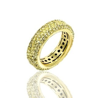 Pave Yellow Crystal Eternity Band Gold Plated Ring