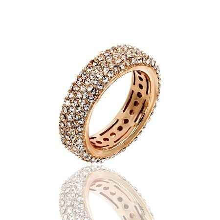 Pave Clear Crystal Eternity Band Gold Plated Ring - White