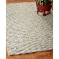 LR Home Criss Cross Silver / Ivory Indoor Area Rug - 5' x 7'9