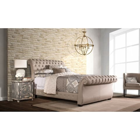 Hillsdale Bombay Linen Upholstered Bed Set with Rails