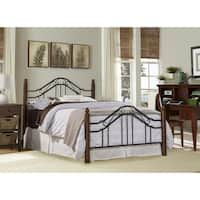 Hillsdale Madision Black Metal Wood King Bed Set Rails Not Included