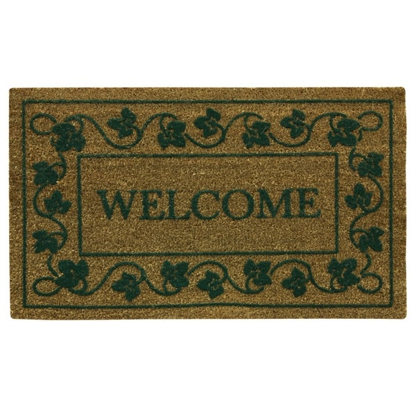 Coir Flocked Ivy Vine with Welcome printed doormat by Bacova - 18x30