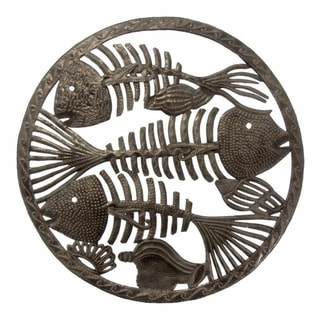 Handmade Round Fish Bones Metal Wall Art (Haiti)