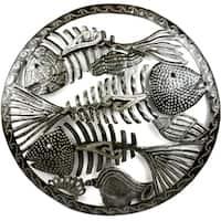 Handmade Round Fish Bones Metal Wall Art (Haiti)