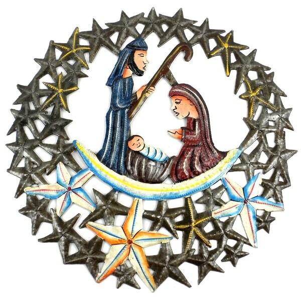 Handmade 11 inch Nativity in the Stars Metal Wall Art (Haiti)