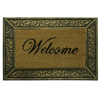 Framed coir Pebbles Welcome doormat by Bacova - 23x34