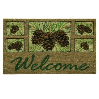 Coir Natural Pinecone Welcome printed doormat by Bacova