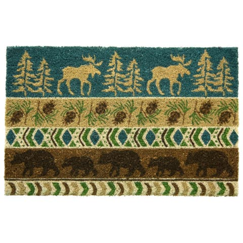 Coir Bleached Timber Ridge printed doormat by Bacova - 18x28