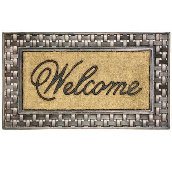 Coir Framed Basketweave Welcome doormat by Bacova - 18x30