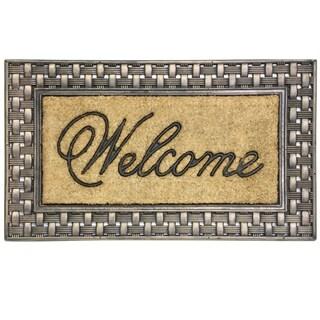 Coir Framed Basketweave Welcome doormat by Bacova