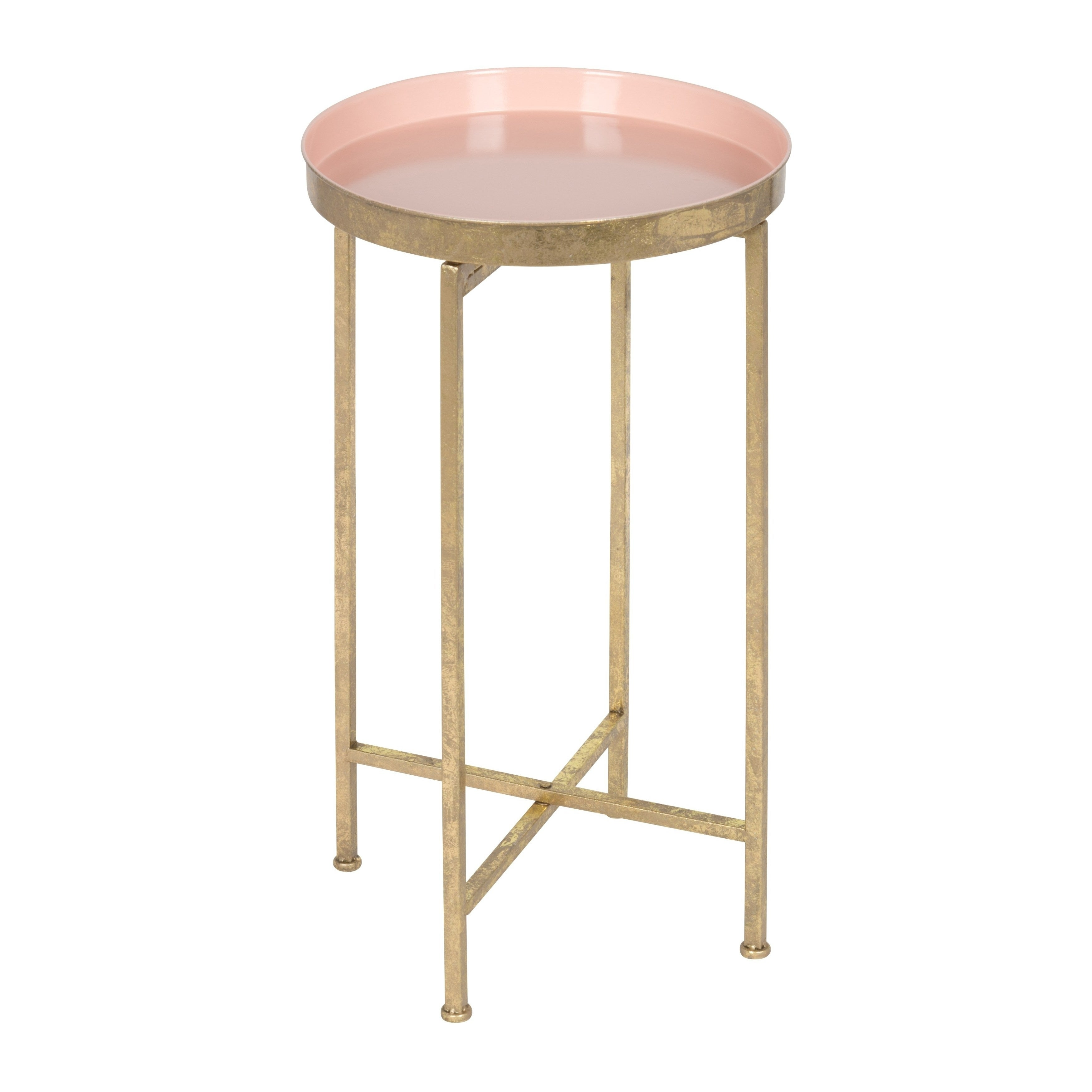 Kate And Laurel Celia Round Metal Foldable Tray Accent Table (Option: Pink)