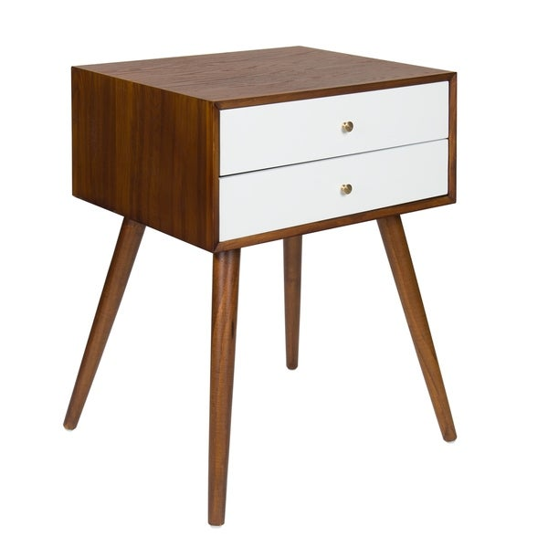 Kate and Laurel Finco Nightstand Side Table with 2 Drawers