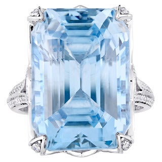 Miadora Signature Collection 14k White Gold Octagon Radiant-Cut Natural Sky-Blue Topaz and 1/2ct TDW Diamond Cocktail Ring