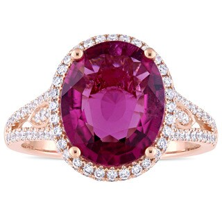 Miadora Signature Collection 14k White Gold Natural Pink Tourmaline and 3/4ct TDW Diamond Halo Split Shank Cocktail Ring (More options available)