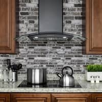 """AKDY RH0280 36"""" Stainless Wall Mount Range Hood in Black with Push Button Controls Kitchen Cooking Fan"""