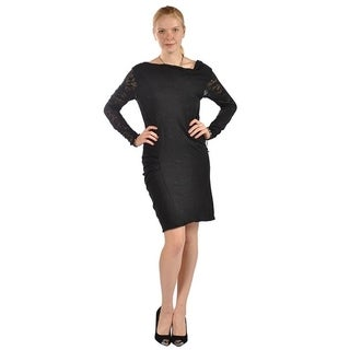 Womens Long Laced Sleeve Cocktail Dress