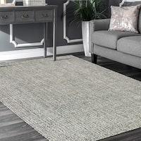 LR Home Criss Cross Grey Indoor Area Rug (8' x 10') - 8' x 10'