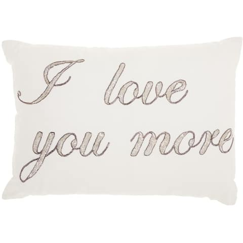 """Mina Victory Luminecence """"I Love You More"""" Throw Pillow by Nourison (14-Inch X 20-Inch)"""