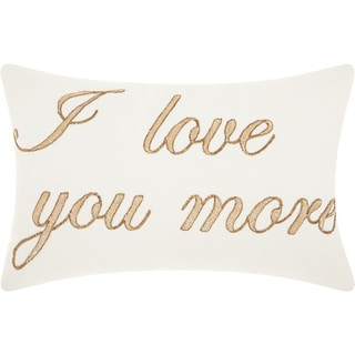 "Mina Victory Luminecence ""I Love You More"" Throw Pillow by Nourison (14-Inch X 20-Inch)"
