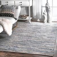 nuLOOM Handmade Casual Faded Denim Stripes Blue Rug - 10' x 14'