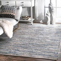 "nuLOOM Handmade Casual Faded Denim Stripes Blue Rug (10' x 14') - 9'6"" x 13'6"""