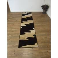 "Black Multi Contemporary Polypropylene Runner Rug - 2' x 7'5"""