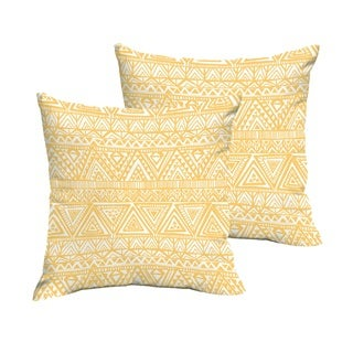 Humble + Haute Yellow and White Triangle Knife Edge Indoor/ Outdoor Pillows, Set of 2