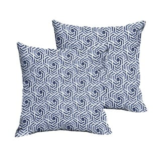Humble + Haute Navy and White Geometric Knife Edge Indoor/ Outdoor Pillows, Set of 2