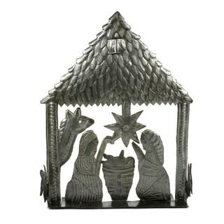 Handmade 9 inch Table Top Metal Nativity (Haiti)