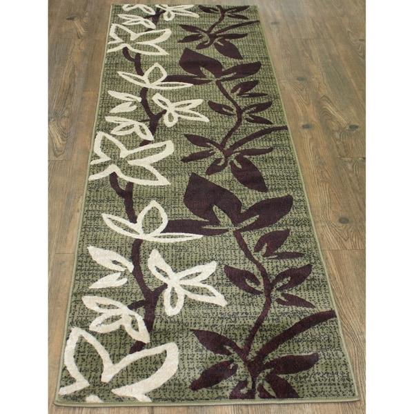 "Green Multi Floral Polypropylene Design Runner Rug - 2' x 7'5"""