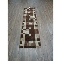 Brown Multi Contemporary Runner Rug Polypropylene Made - 2' x 7'5""