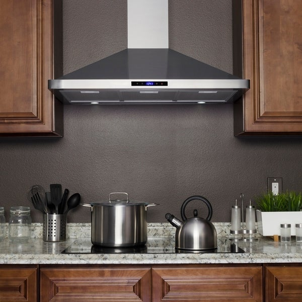 Akdy Rh0283 36 Wall Mount Range Hood Stainless Steel Touch Panel Led Mesh Filters
