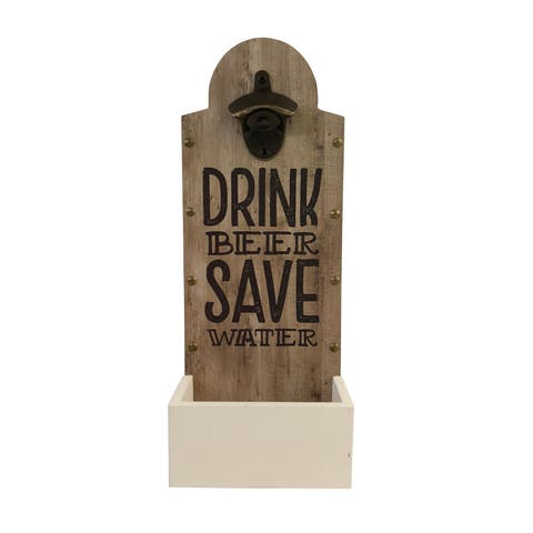 Drink Beer, Save Water Wall Mounted Bottle Opener and Cap Catcher