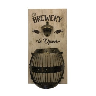 Brewery Wall Mounted Bottle Opener and Cap Catcher