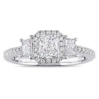 Miadora Signature Collection 14k White Gold 1ct TDW Trapezoid Radiant and Round-Cut Diamond Halo Engagement Ring