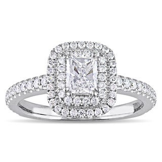 Miadora Signature Collection 14k White Gold 1ct TDW Radiant and Round-Cut Diamond Double Halo Engagement Ring