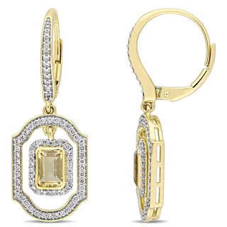 Miadora Signature Collection 14k Yellow Gold Emerald-Cut Citrine and 3/5ct TDW Diamond Dangle Leverback Earrings