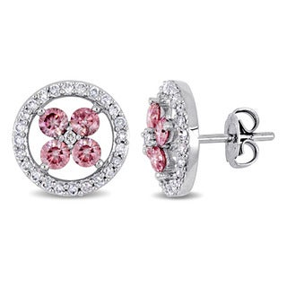 Miadora Signature Collection14k White Gold 1ct TDW Pink and White Diamond Halo Flower Stud Earrings