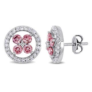 Miadora Signature Collection14k White Gold 1ct Tdw Pink And Diamond Halo Flower Stud Earrings