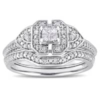 Miadora Sterling Silver 1/4ct TDW Princess and Round-Cut Diamond Cluster Multi-Level Vintage Bridal Ring Set