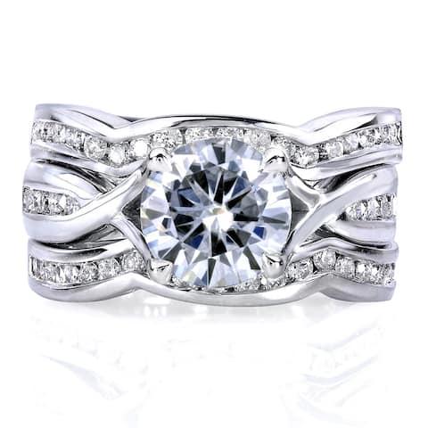 Annello by Kobelli 14k White Gold 1 3/4ct TGW Round Moissanite and Channel-set Diamond Trellis Bow Bridal Rings (DEF/VS, GH/I)