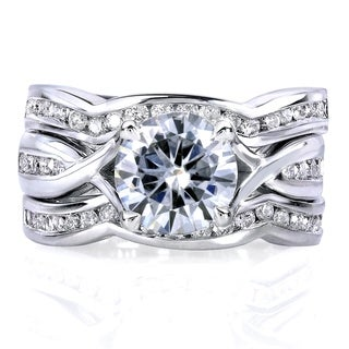 Link to Annello by Kobelli 14k White Gold 1 3/4ct TGW Round Moissanite and Channel-set Diamond Trellis Bow Bridal Rings (DEF/VS, GH/I) Similar Items in Rings