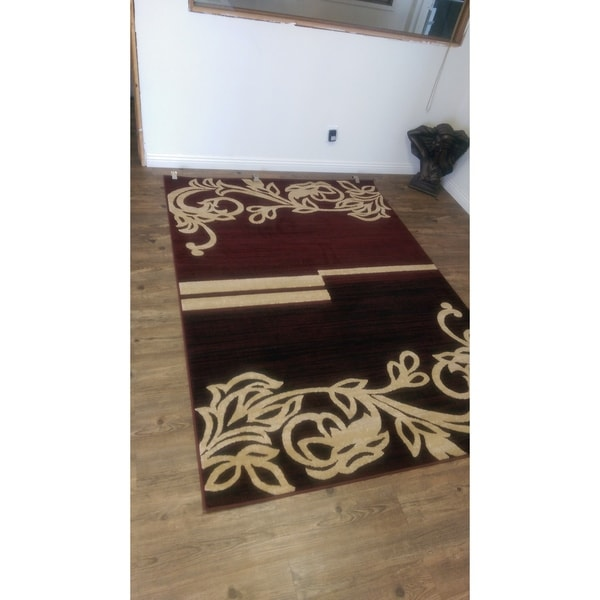Floral Burgundy with Jute Backing Power loomed indoor Rug - 4' x 5'4